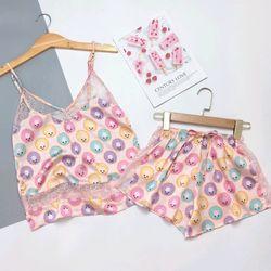 Đồ ngủ đồ mặc nhà đùi pha ren họa tiết Lụa VN siêu Mềm mịn