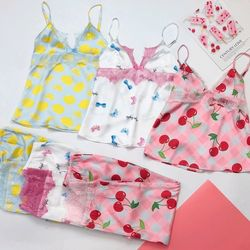 Đồ ngủ đồ mặc nhà hai dây quần dàu Ren Lụa in nhiệt VN siêu mềm mịn giá sỉ