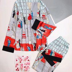 Đồ ngủ đồ mặc nhà tay dài quần dài Họa tiết buổi tiệc Lụa Hàng Quảng châu cao cấp giá sỉ