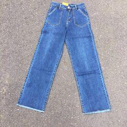 quần jean nữ ống rộng có 2 màu xanh nhạt và đậm giá sỉ