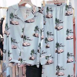 Đồ ngủ đồ pijama mặc nhà Tay dài quần dài Lụa In 3D hàng Quảng Châu siêu sang giá sỉ