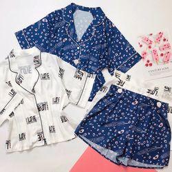 Đồ ngủ đồ mặc nhà đùi Áo croptop Lụa Quảng Châu siêu cute giá sỉ