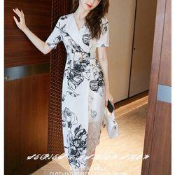 Đầm lụa trắng hoạ tiết sang trọng giá sỉ