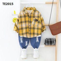 Bộ áo sơ mi quần jean rách vàng Te 2015 giá sỉ