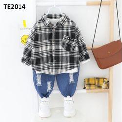 Bộ áo sơ mi kẻ quần jean rách TE2014 giá sỉ