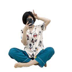 Đồ ngủ đồ mặc nhà TNqd Mickey Quần trơn Lụa QC giá sỉ
