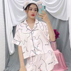 Đồ ngủ đồ pijama mặc nhà đùi áo croptop Lụa QC giá sỉ