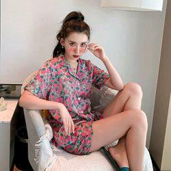 Đồ ngủ đồ mặc nhà pijama đùi dâu Hồng Lụa Qc giá sỉ