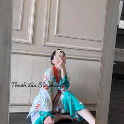 Đồ ngủ đồ mặc nhà Tdqd Hoa Lá cam xanh Lụa In 3D hàng Quảng Châu giá sỉ