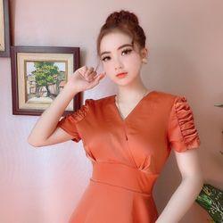 Váy lụa thiết kế tay dúm có size M L Xl giá sỉ
