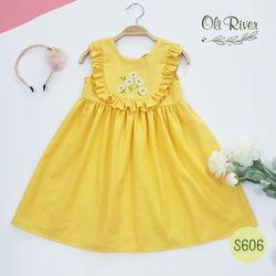 Váy sát nách viền bèo, thêu hoa trước, màu vàng - S606-T giá sỉ