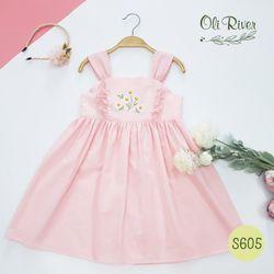 Váy hai dây, thêu hoa trước màu hồng - S605-T giá sỉ