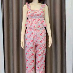 Đồ ngủ đồ mặc nhà hai dây quần dài thun bo Họa tiết Lụa VN siêu mịn giá sỉ