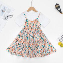 Váy hoa nhí phối áo thun, chân váy màu cam TE2533 giá sỉ