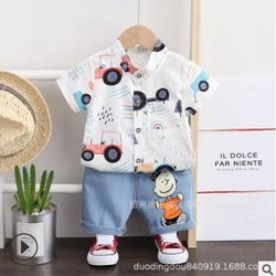 Bộ áo sơ mi cổ tàu+quần vải in hoạt hình TE2545 giá sỉ
