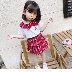 Sét váy áo thun trắng, chân váy kẻ đỏ TE2535 giá sỉ