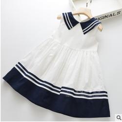 Váy trắng cổ và gấu viền xanh hải quân TE2397 giá sỉ