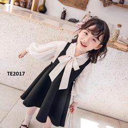 Set váy hai dây + áo sơ mi dài tay bé gái TE2017 giá sỉ