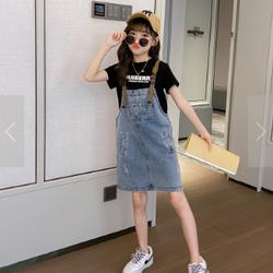 Sét áo thun đen, chân váy yếm BG TE2563 giá sỉ